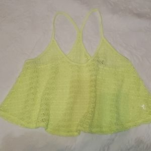 VS PINK neon yellow crochet top M/L